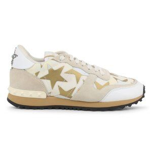 White Brown Star Studded Leather Sneakers